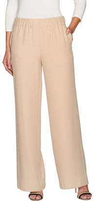 Halston H By H by Regular Stretch Twill Pull-On Wide Leg Pants