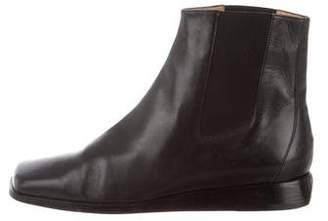 Hermes Leather Square-Toe Ankle Boots