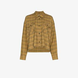 Etoile Isabel Marant Yellow, Orange and Brown Laura Checked Cotton Shirt