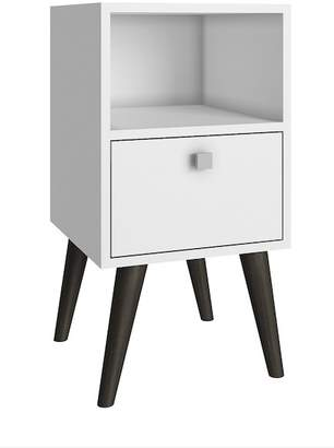 Manhattan Comfort Accenuations by Abisko Stylish Side Table with Cubby & Drawer - White
