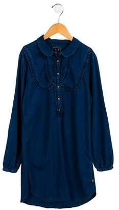 Scotch & Soda Girls' Ruffle-Trimmed Long Sleeve Dress