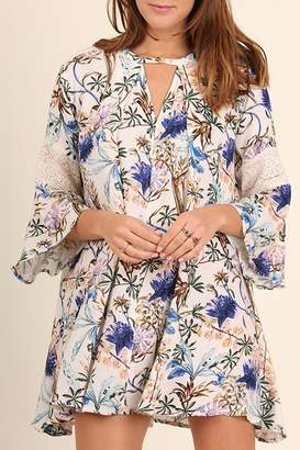 Umgee USA Blue-Cornflower Floral-Print Dress