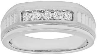 MODERN BRIDE Mens 1/4 CT. T.W. Diamond 10K White Gold 5-Stone Ring
