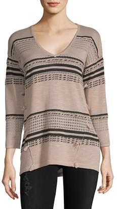 August Silk Women's Multi-Stripe V-neck Sweater