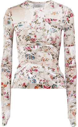 Preen by Thornton Bregazzi Marcia Ruched Floral-print Stretch-crepe Top - Beige