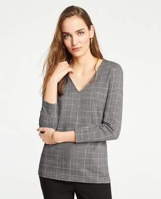 Ann Taylor Plaid Jacquard 3/4 Sleeve Top