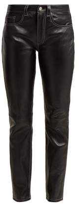 MM6 MAISON MARGIELA Contrast Stitch Leather Trousers - Womens - Black