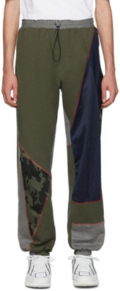 Ahluwalia Studio Khaki and Navy Over Stitch Patchwork Jogger Lounge Pants