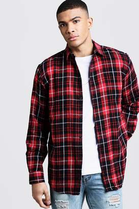 boohoo Oversized Long Sleeve Red Check Shirt