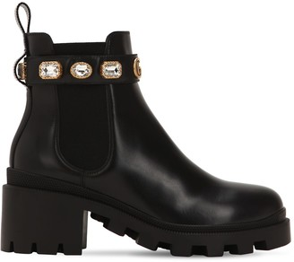 Gucci 40MM EMBELLISHED LEATHER BOOTS