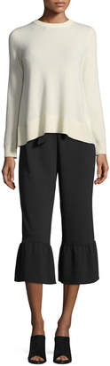 Club Monaco Truleen Straight-Leg Cropped Pants w/ Ruffled Cuffs