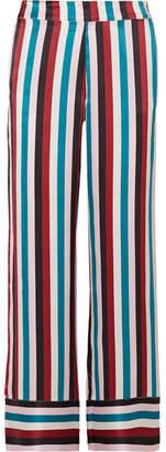 ASCENO - Striped Silk-satin Pajama Pants - Turquoise