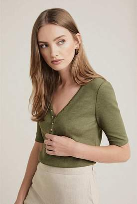 Witchery Rib Button Front Tee