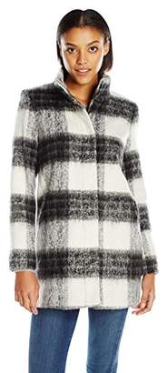 Kensie Women's Mohair Wool Stand Collar Blanket Plaid Coat $42.10 thestylecure.com