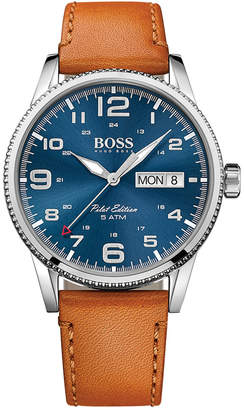 BOSS Hugo Men's Pilot Brown Leather Strap Watch 44mm 1513331