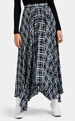 Proenza Schouler Women's Graphic-Plaid Chiffon Pleated Skirt - Blue Pat.
