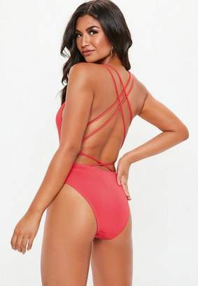 Missguided Plunge Front Cross Back Swimsuit