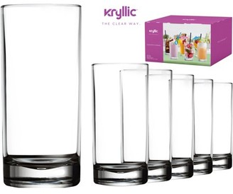 clear Kryllic Plastic Tumbler Cups Drinking Glasses - Acrylic Highball Tumblers Set of 6 16 oz Unbreakable Reusable Kitchen Drinkware Dishwasher Safe Bpa Free Hard Rocks Glass Drink Cup for Wine Water Juice