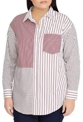 Lauren Ralph Lauren Plus Striped Patchwork Cotton Shirt