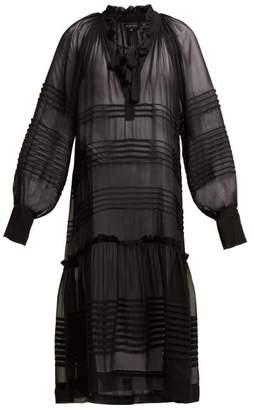 Lee Mathews - Rosa Pleated Silk Georgette Dress - Womens - Black