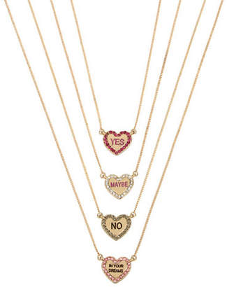 Betsey Johnson Four-Piece Heart Pendant Necklace Set