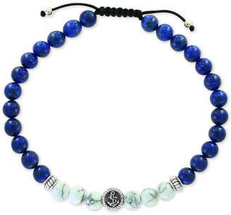Effy Men Lapis Lazuli (6mm) & Howlite (6mm) Nylon Cord Bolo Bracelet in Sterling Silver