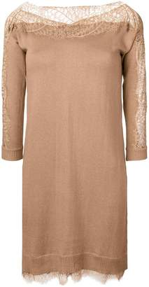 Twin-Set lace trim jumper dress