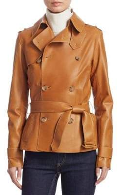 Ralph Lauren Iconic Style Buffy Leather Trench Jacket