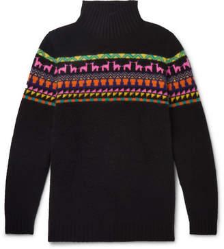 The Elder Statesman Intarsia Cashmere Rollneck Sweater