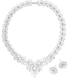 Luxe Emma Crystal Leaf Statement Necklace & Earrings Set