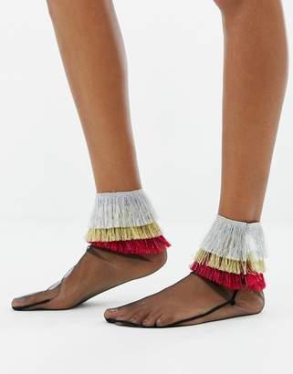 Asos DESIGN metallic fringe mesh socks