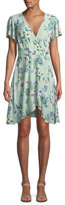Astr Floral Flutter-Sleeve Wrap Dress
