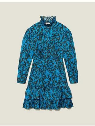 Sandro Printed Dress With Ruffles High Collar