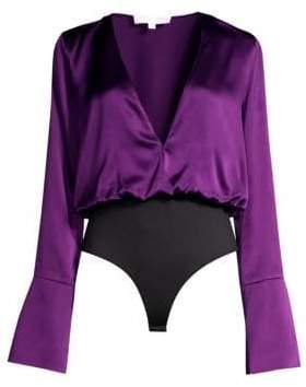 Caroline Constas Daria Satin V-Neck Bell Sleeve Bodysuit