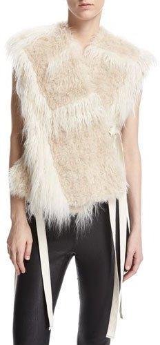 Helmut LangHelmut Lang Two-Tone Faux-Fur Vest, Cream