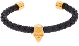 Skull Braided Leather Cuff Bracelet