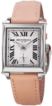 Bruno Magli 27mm Valentina Rectangular Watch, Blush/Silver
