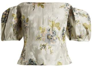 Brock Collection Boie Itoh Peony Print Silk Jacquard Corset Top - Womens - Blue Print