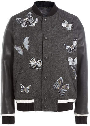 Valentino Wool Bomber Jacket with Leather Sleeves