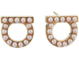 Salvatore Ferragamo Stud Gpearls Earrings