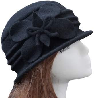 f781c1a1199 Cloche Ealafee Fedora Hat Wool Cap Floppy Hat Vintage Wool Hat for Girls