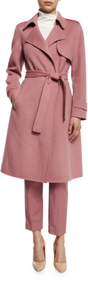 Theory Oaklane New Divided Open-Front Trench Coat, Pink Willow $795 thestylecure.com