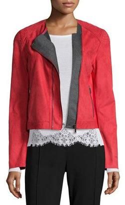 Elie Tahari Luana Suede Jacket with Bonded Jersey Detail $998 thestylecure.com