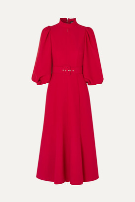 Andrew Gn Belted Crepe Midi Dress - Red