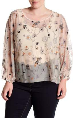 Melrose and Market Sheer Embroidered Mesh Blouse (Plus Size)