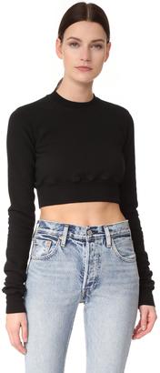 Rick Owens DRKSHDW Crewneck Cropped Sweatshirt $380 thestylecure.com