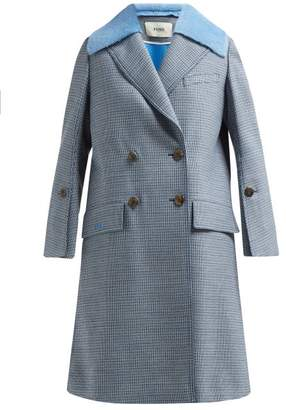 Fendi Checked Double Breasted Wool Blend Coat - Womens - Blue Multi