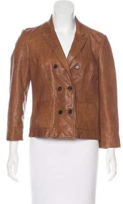 Giada Forte Collection by Leather Double-Breasted Jacket