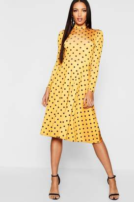 boohoo High Neck Long Sleeve Polka Dot Midi Dress