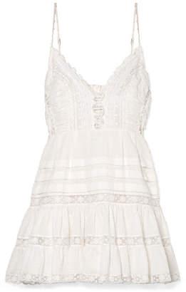 Zimmermann Iris Lace-paneled Swiss-dot Cotton Mini Dress